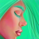 Fille dans le profil avec les cheveux verts dans le style de la peinture à l'huile numérique Image libre de droits