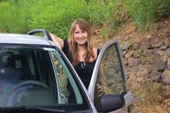 Fille dans le véhicule Image stock