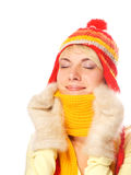 Fille dans le vêtement de l'hiver Photo stock