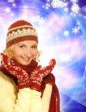 Fille dans le vêtement de l'hiver Image stock