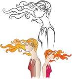 Fille dans le vent Illustration Stock