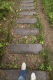 Fille dans les espadrilles et des jeans en bas des étapes en bois humides après le r Image libre de droits