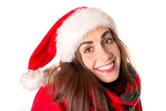 Fille dans Noël avec le chapeau du ` s de Santa Images stock