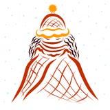 Fille dans un châle et un chapeau chauds, chutes de neige illustration stock