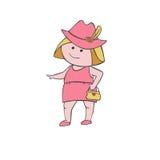 Fille dans un chapeau avec un sac à main Photographie stock