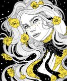 fille dans une nuit étoilée d'imperméable de cap ses cheveux et robe avec de l'or jaune fleurissent Image stock