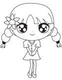 Fille dans une robe avec une page de coloration de fleur illustration libre de droits