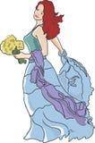 Fille dans une robe bleue Images libres de droits