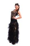 Fille dans une robe noire magnifique Photographie stock libre de droits