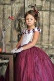 Fille dans une robe pourprée image libre de droits