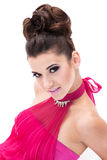 Fille dans une robe rose image stock