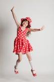 Fille dans une robe rouge Images libres de droits