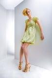 Fille dans une robe verte. Dans tout l'accroissement. Studio Photo stock