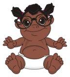 Fille de baie de nègre en verres illustration stock