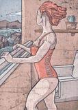 Fille de balcon regardant fixement le vide illustration libre de droits