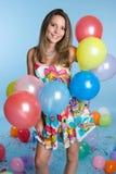 Fille de ballons Image stock