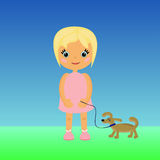 Fille de bande dessinée avec un chien Image stock