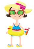 Fille de bande dessinée dans le chapeau jaune avec l'arc rose, une natation de canard d'anneau en caoutchouc avec un verre de smo Photos stock