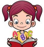 Fille de bande dessinée lisant un livre illustration de vecteur