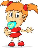 Fille de bande dessinée mangeant le lollypop Image stock