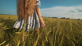 Fille de beauté avec de longs cheveux sains dehors Jeune femme de sourire heureuse appréciant la nature Belle jeune femme ayant l clips vidéos