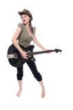 Fille de beauté avec la guitare Images libres de droits