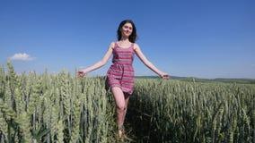 Fille de beauté courant sur le champ de blé vert Concept de liberté Femme heureuse à l'extérieur moisson Photo libre de droits