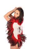 Fille de beauté de valentines avec de grandes ailes rouges et blanches Photo stock
