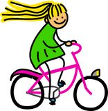 Fille de bicyclette Images libres de droits
