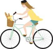 Fille de bicyclette de Paris Image libre de droits