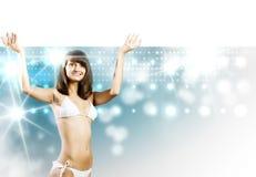 Fille de bikini avec la bannière Photos libres de droits