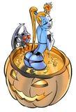 Fille de bleu de Veille de la toussaint Images stock