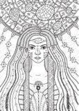 Fille de boho de chaman avec les cheveux floraux et de waterdrop illustration libre de droits