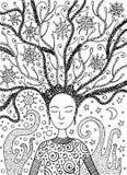 Fille de boho de chaman avec les cheveux floraux succulents illustration libre de droits