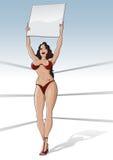Fille de boucle de boxe avec la carte vierge Photographie stock