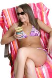 Fille de bronzage de bikini image stock