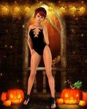 Fille de brune sur la partie de Halloween avec la décoration Images stock