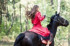 Fille de brune sur le cheval photographie stock libre de droits