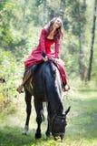 Fille de brune sur le cheval photographie stock