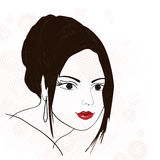 Fille de brunette de silhouette Photos libres de droits