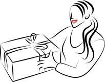 Fille de cadeau illustration de vecteur