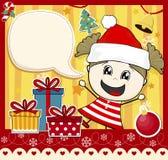 Fille de carte de Noël Photos stock