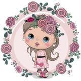 Fille de carte de voeux avec des fleurs sur un fond rose illustration libre de droits