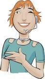 Fille de centre d'attention téléphonique avec un vert   Image libre de droits