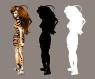 Fille de chat illustration stock