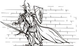 Fille de chevalier avec l'épée et l'écran protecteur Images libres de droits