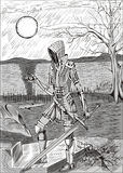 Fille de chevalier avec la boucle et l'épée Images stock