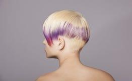 Fille de cheveux blonds avec la peinture violette Beau femme Photographie stock libre de droits