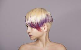 Fille de cheveux blonds avec la peinture violette Beau femme Images stock