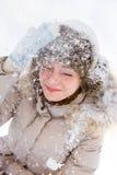 Fille de chute de neige Photos libres de droits